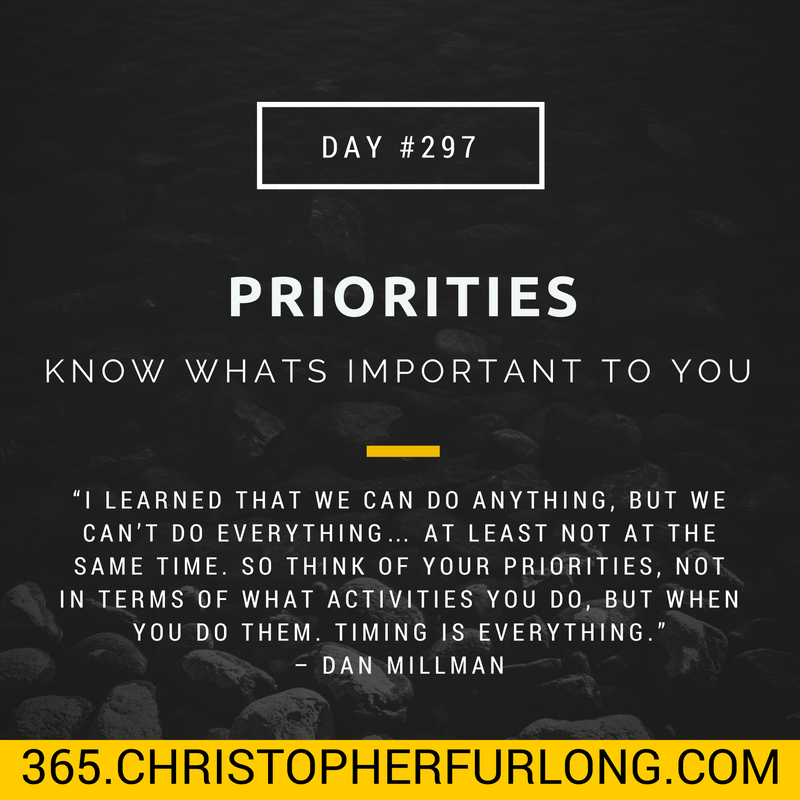Day #297: Priorities – Know Whats Important To You
