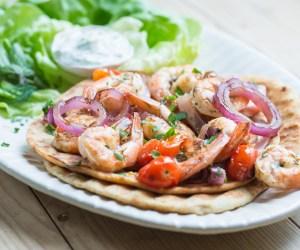 307. Heinen's 4PMpanic: Grilled Shrimp Souvlaki with Cucumber Dill Sauce