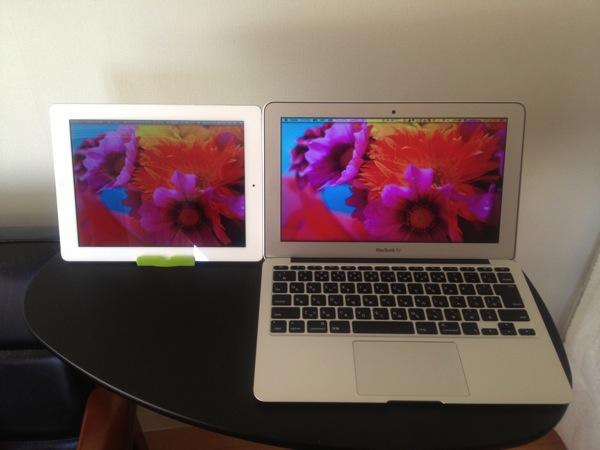 ipadとMacBookAirでデュアルディスプレイ♪