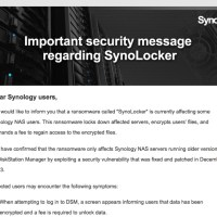 Synology Issues Official Statement to Address SynoLocker Ransomware