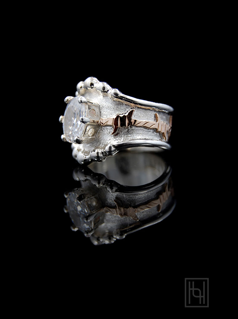 rings western style wedding rings Barbed Wire Oval Crystal Ring