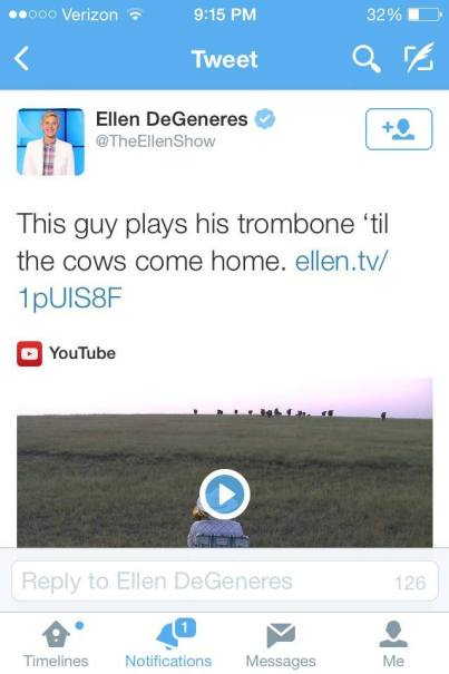 Ellen tweets Cow love Royals by Lorde