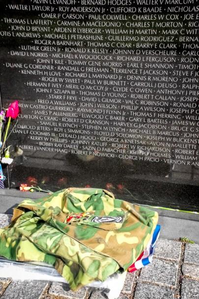 Marine uniform left at the Vietnam Wall in Washington DC