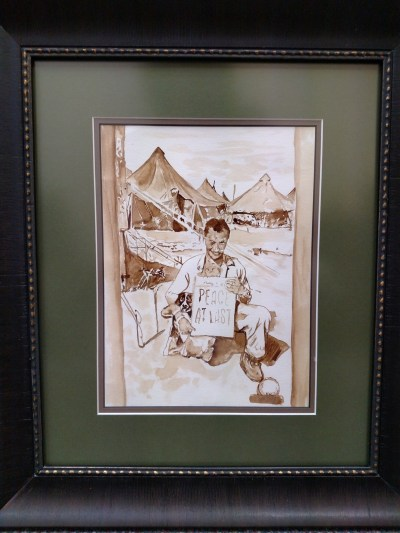 Coffee panting of a soldier on VJ Day WWII