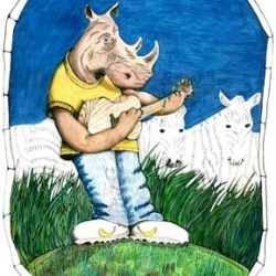 "Black Rhino (Odd toed Ungulates) 10"" x 12"""