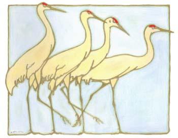 """Cranes Four 14.5"""" x 11.25"""""""