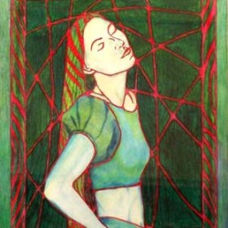 """Study in Green and Red 8"""" x 10"""""""