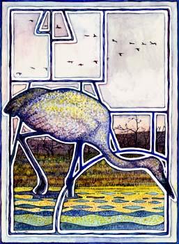 """Sunset Crane 11"""" x 15"""""""