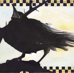 "Raven in the Thornbush 9"" x 13"""
