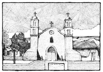 "San Miguel Church, Socorro NM 10.75"" x 7.5"""