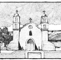 "San Miguel Church, Socorro NM 10.75"" x 7.5"""