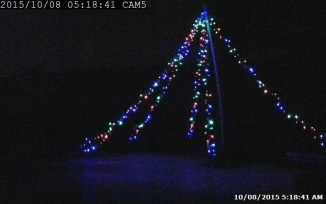 """First """"dark test"""" of Tower Light Kit 10 foot demo, captured from TrendNet security monitor"""