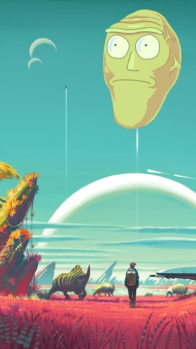 Rick And Morty iPhone Wallpaper Giant Heads | 2019 3D iPhone Wallpaper