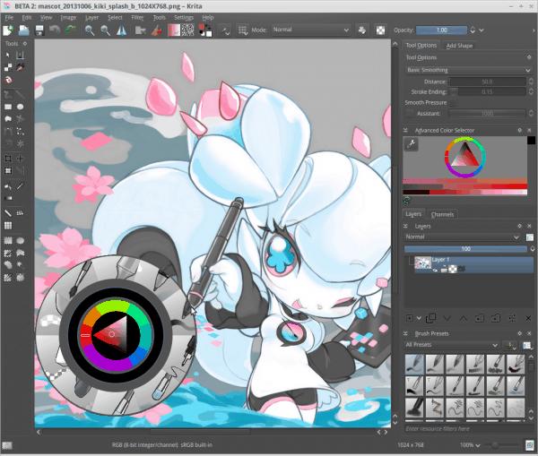 Krita 2.8 screenshot with its mascot Kiki