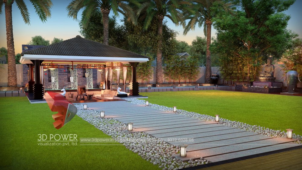 bungalow-3d-interior-rendering-services-evening-view