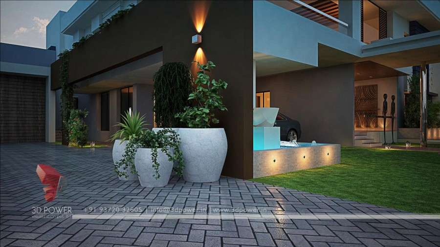 bungalow-3d-modeling-rendering-night-view-Firstly Focus On Your Entryway