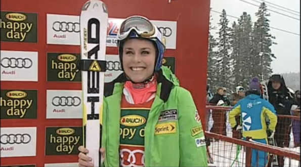 A happy Lindsey Vonn in the finish area after the super-G in Lake Louise // screen-shot Universal Sports