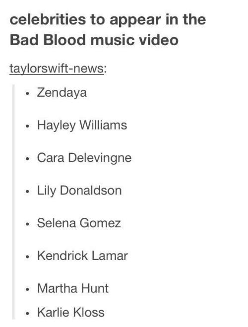 List of celebrities in Taylor Swift's upcoming