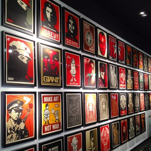 buffmonster:  This is just some of the @obeygiant prints up at #toykio . #obey #shepardfairey