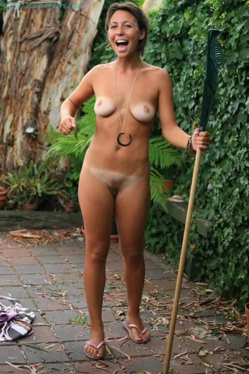 women naked in back yard