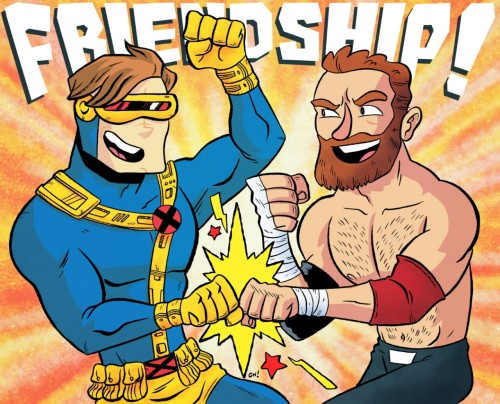 I got to draw two of my favorite things (X-Men + wrestling) for someone for their birthday! </p> <p>90s Cyclops & Sami Zayn are friendship pals!</p> <p>You can get some art from me too at https://www.etsy.com/shop/thechrishaleyart !
