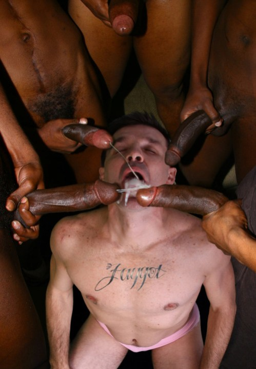 White pussyboi with Faggot tattoo is covered with cum from five large black cocks