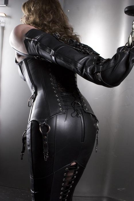 leather corset mini dress