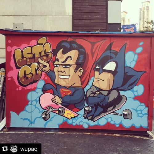 365daysofsuperman:  #Repost @wupaq ・・・#graffiti #batman #superman #streetart #skateboard #skateboarding #illustration #manofsteel #365daysofsuperman #FanFriday