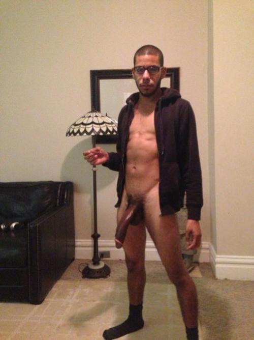 Black nerd with a massive black dick