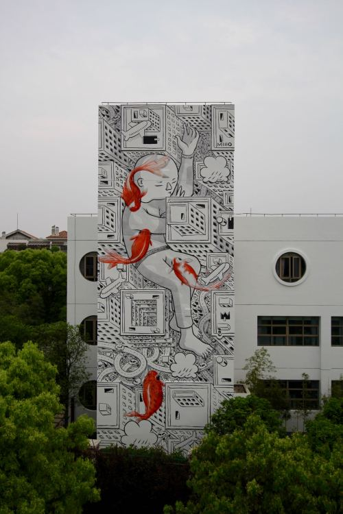 bizarrebeyondbelief:  Massive new piece on the streets of Shanghai by Italian mural artist Millo.More here: http://wp.me/p2dpFM-3Iw