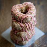 Baked Apple Cider Donuts with Pomegranate Glaze (Vegan)