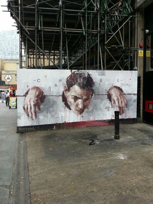 eastlondongraff:'Say cheese' Another epic #Borondo piece by #bricklane, Truman Brewery #streetart #graffiti