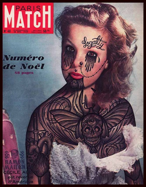 supersonicart:Ramon Maiden, Dots & Lines.Artist Ramon Maiden takes classic magazine pages or prints and classes them up with all sorts of tattoo related regalia.Please continue below to see more of Ramon's work:Keep reading