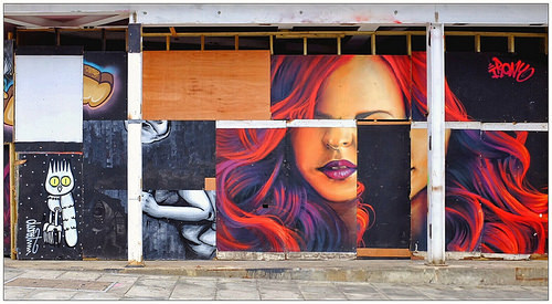 happoart:  Graffiti (Dscreet, Artista, Irony, Zabou), North London, England. http://ift.tt/1i2oJ4d