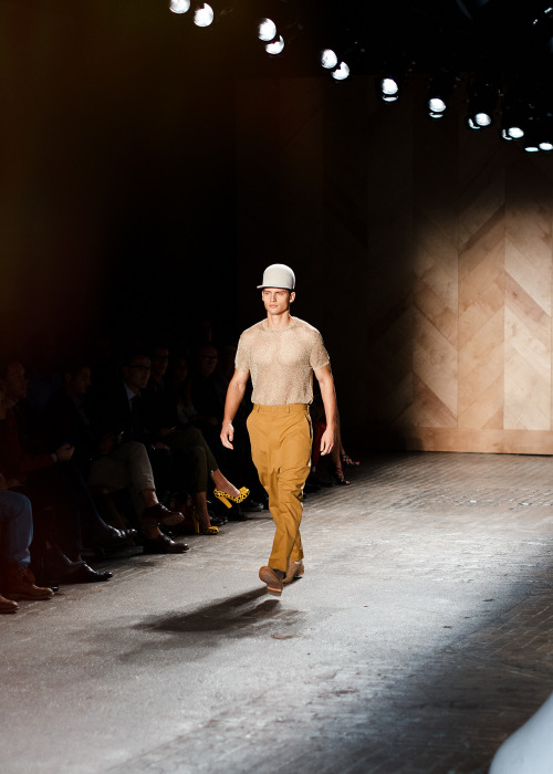 On the runway, Perry Ellis by Duckie Brown S/S 13 collection.