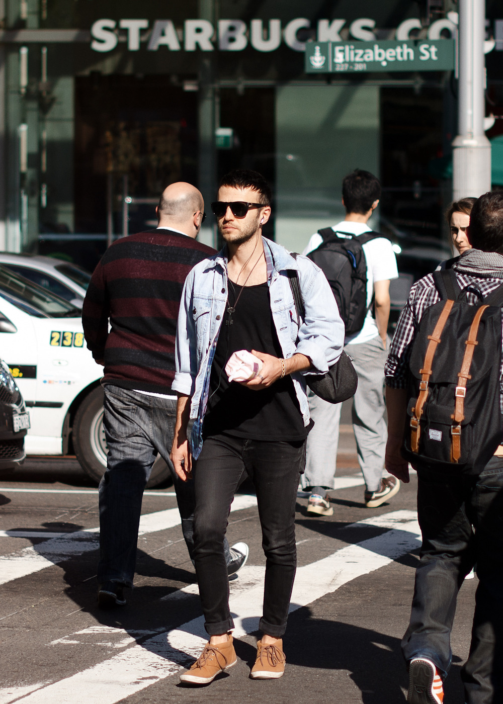 Faded denim.Similar look: Dries Van Noten Men's Vital Jacket.