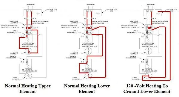 Wiring diagram typical to residential 240-volt non-simultaneous operation water heaters.
