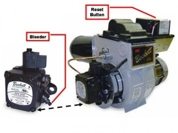This shows the approximate locations for the bleeder screw and reset button on a oil burner.
