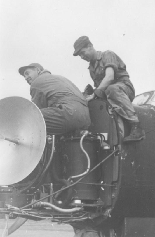 Mike Lamoreau, Roy Fields working on the Radar. Rich  Ziebart below
