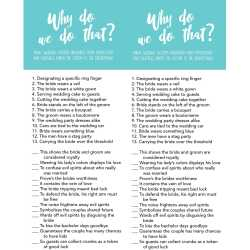 Clever This Bridal Shower Game Is All About Wedding Customs Why We You Match Up Custom Superstition That Started Bridal Shower Games Free Printables Lou Lou Girls baby shower Bridal Shower Games Free