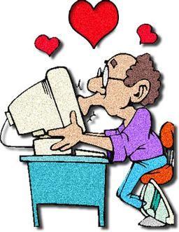 man kissing computer