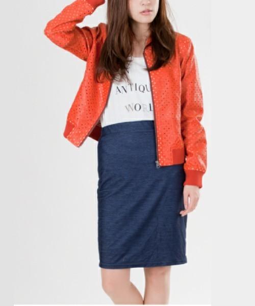 春コーデにおすすめ♪カラージャケットの取り入れ方:オレンジ