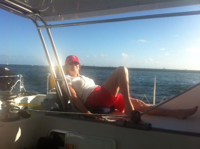 Mom kicking back and enjoying an afternoon boat ride.