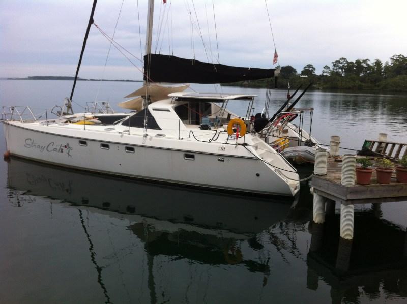 Stray Catz tied to dock.