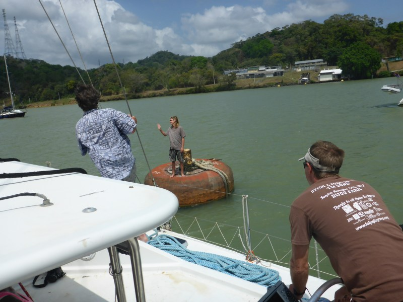 Kylan untying us from the mooring buoy. The strong wind pushed us away and we had to go back and pick him up.