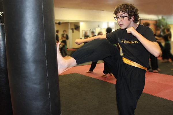 Yellow Sash Kicking at 5 Elements Martial Arts San Diego