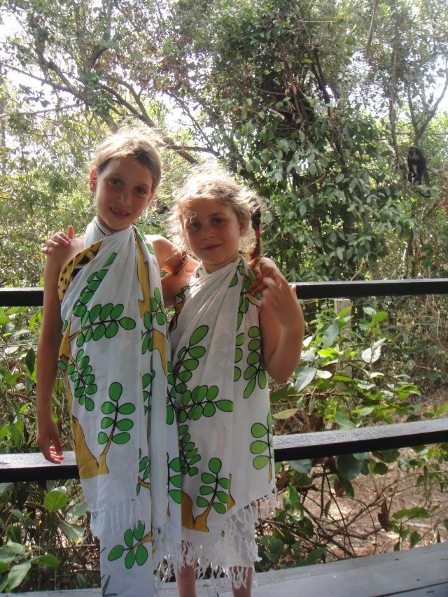 Belize Zoo - with newly purchased sarongs. Spot the monkey!