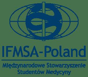 Emblemat IFMSA-Poland kwadrat granatowy