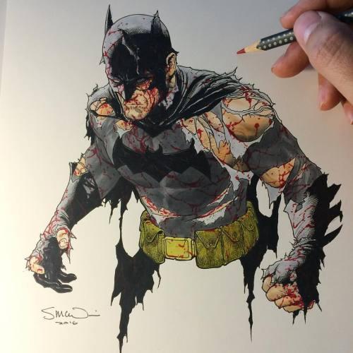 mcnivenart:Here's a Batman colour sketch I did for fun in between cover work today! #batman #dccomics #coloursketch #copic #stevemcniven #stillstanding