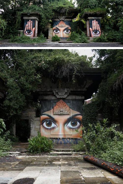"veryprivateart:Street artist: Voyder ""The lost world"""